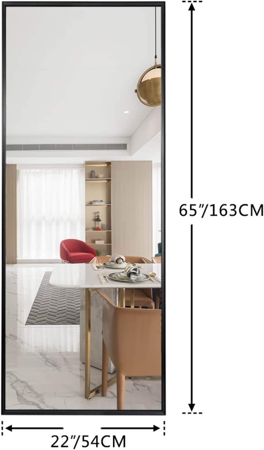 SELF Full Length Floor Mirror 65x22 Large Rectangle Wall Mirror Standing Hanging or Leaning Against Wall for Bedroom Dressing and Wall-Mounted Thin Frame Mirror Elegant Black