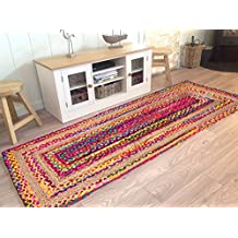 Hand Woven Natural Jute & Cotton Multi Chindi Braided Rug Runner for Kitchen, Livingroom and Bedroom 2 X 5 -Feet-Hand woven & Hand Stitched, attractive artisan look