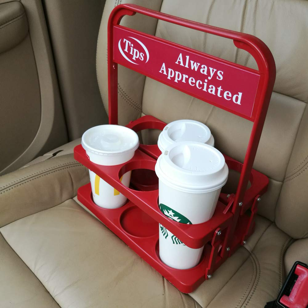 Foldable Plastic Beverage Carrier for Grubhub Ubereats Doordash Postmates Drivers