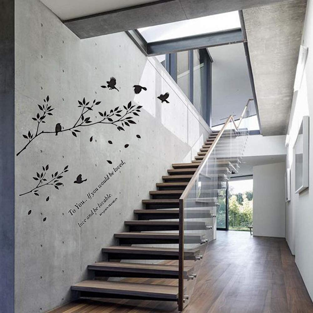 Left to Right DIY Removable Wall Art Wallpaper Home Decoration for Living Room CUNYA 35 x 43in Black Birds Tree Branches Wall Decor Stickers Love Letters Saying Decal Nursery Leaves Bedroom