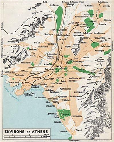 Amazon Com Athens Environs Vintage Map Plan Piraeus Greece