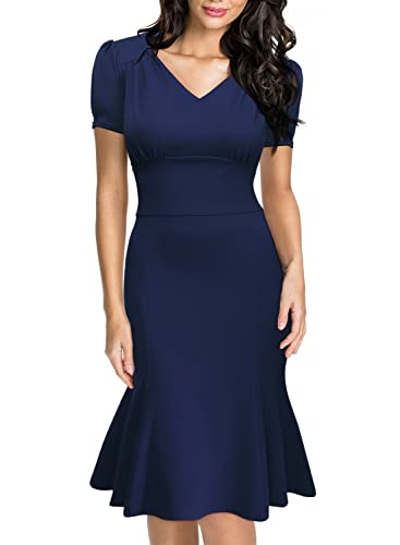 Miusol Women's Official V-Neck Retro Cap Sleeve Fitted Cocktail Pencil Dress