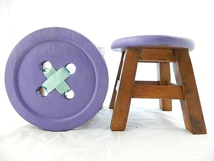 Sgabello bambino di legno per bambini motivo a bottone colore