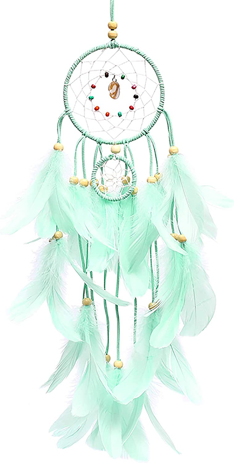 N / A Dream Catcher, Girl Bedroom Dream Catcher - Light Dream Catcher Manual Traditional Feather Dream Chaser Wall-Mounted Home Decor Wedding Party Decoration Craft Gift (Green)