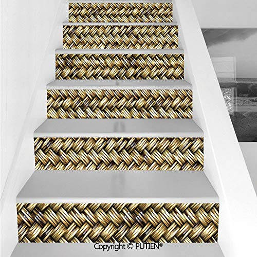 PUTIEN Unique Stair Stickers Wall Stickers,6 PCS Self-Adhesive [ Abstract,Rattan Basket Weave Pattern Natur (Panel Rattan 3 Screen)