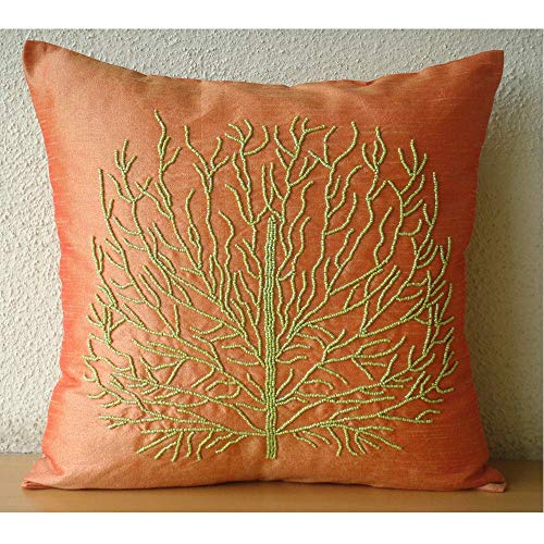 The HomeCentric Designer Orange Pillow Cases, Beaded Green Tree Pillows Cover, 16 x16 Throw Pillows Cover, Square Silk Pillowcase, Floral Contemporary Pillow Covers – Money Tree