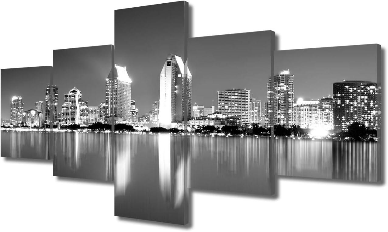 TUMOVO USA City Cityscape Canvas Wall Art - San Diego Skyline at Night - Framed Black & White B&W Coronado California Night View Picture - Gallery Wrap Modern Home Decor | Ready to Hang - 50