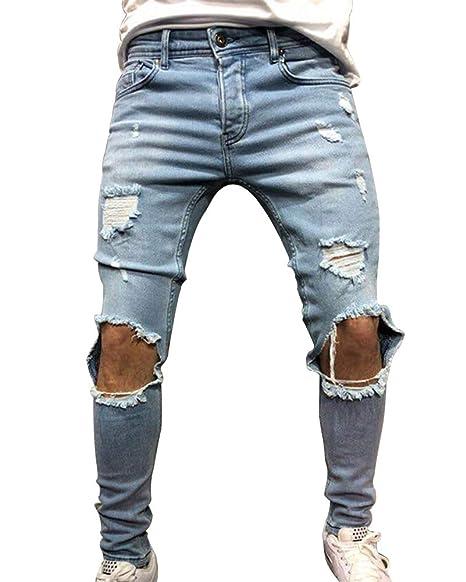 di prim'ordine estetica di lusso design innovativo Guiran Jeans Strappati Uomo Elasticizzati Skinny Pantaloni ...