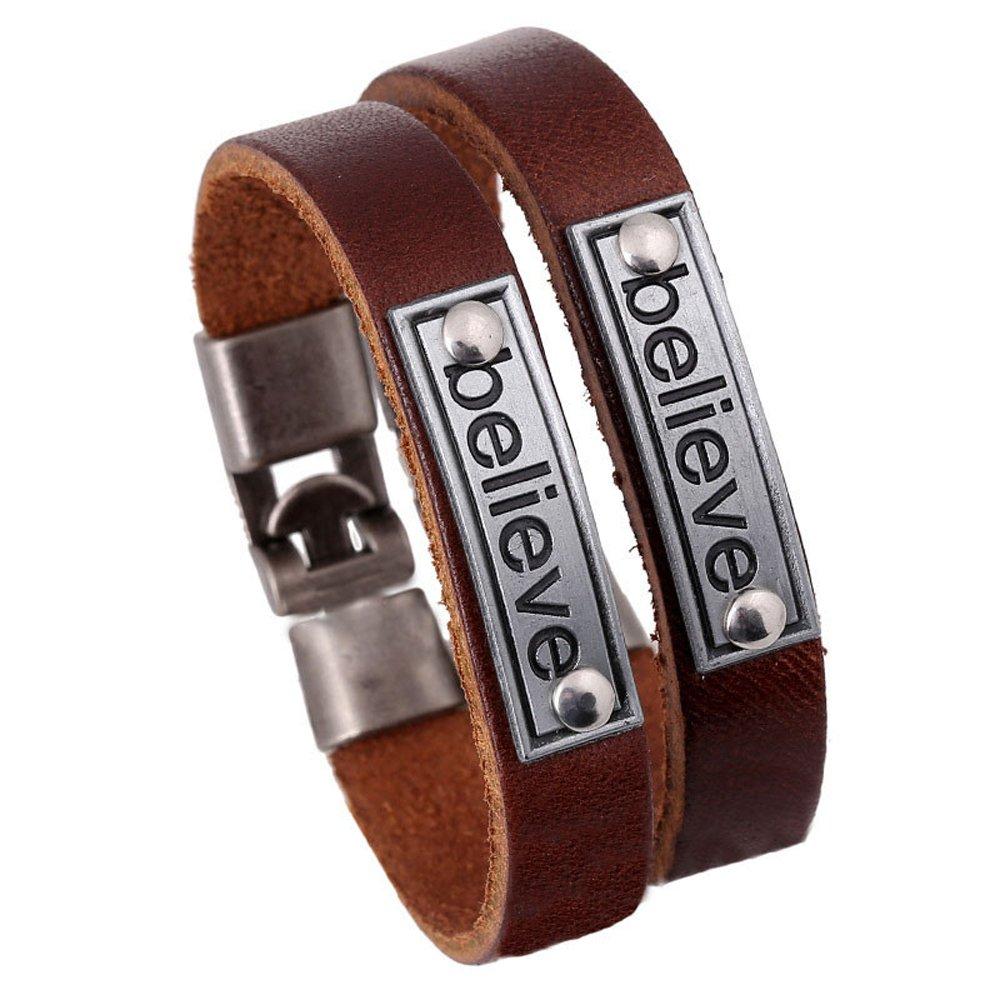 2pcs Vintage Genuine Leather Strand Unisex Bracelet Believe Men Women Comfort Fit Jewelry INBO B02