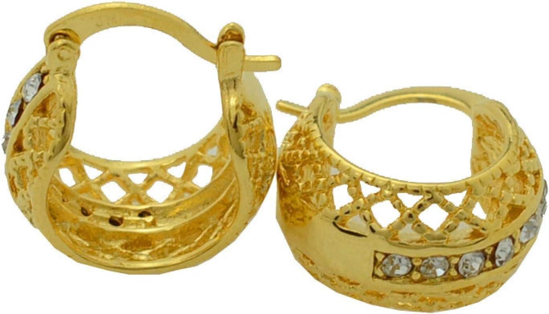 Pendientes De Botón De Moda De Diamantes De Imitación para Mujer Pendientes Dorados De Regalo # 203506