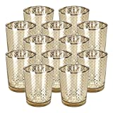 Just Artifacts Glass Votive Candle Holder 2.75'' H (12pcs, Lattice Gold) - Mercury Glass Votive Tealight Candle Holders for Weddings, Parties and Home Decor
