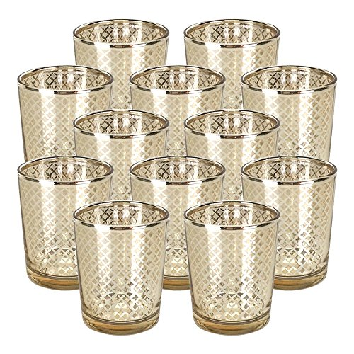 Just Artifacts GlassVotiveCandle Holder 2.75 H(12pcs,Lattice Gold) - Mercury Glass Votive Tealight Candle Holders for Weddings, Parties and Home Decor
