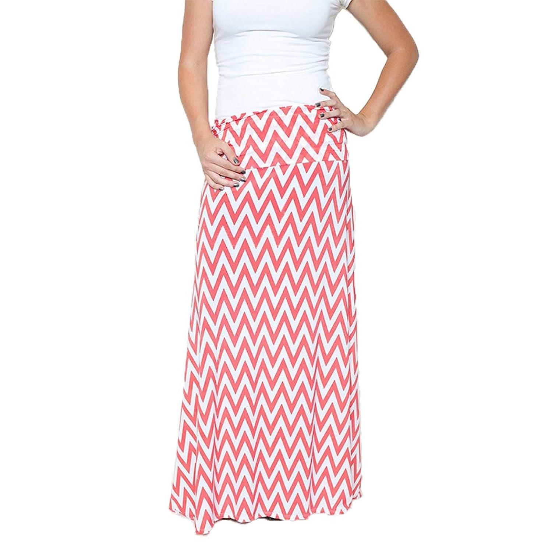 Honey & Lace Womens Maxi Skirt, Small, coral/white mini chevron at ...