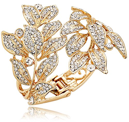 Gold Tone Rhinestone Ring (Elegant Gold Tone Summer Leaves Crystal Pave Bangle Bracelet for Bridal, Proms, Pageants,)