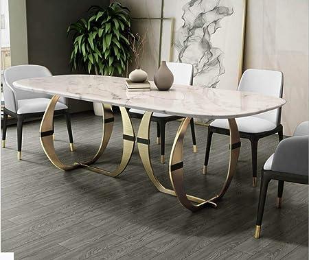 LGFSG Conjunto de Mesa Juego de Comedor de Acero Inoxidable Muebles para el hogar Mesa de Comedor Moderna y Minimalista de mármol y 6 sillas, Blanco: Amazon.es: Hogar