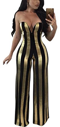 8bb12710 Amazon.com: Speedle Womens Sexy Strapless Metallic Stripe Wide Leg Long  Pants Club Jumpsuits Rompers: Clothing