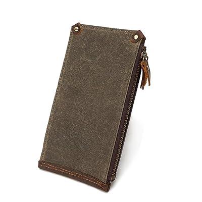 Nouveau portefeuille de toile à fermeture à glissière pour hommes long multi-carte portefeuille rétro sac imperméable sac en toile ZYXCC