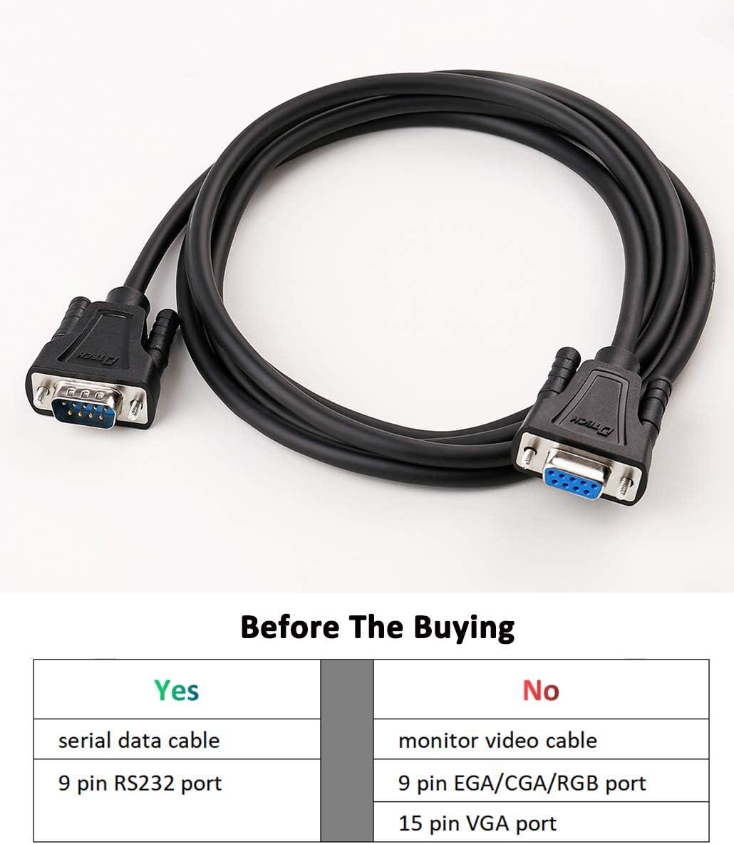 DTECH DB9 RS232 Cable de Serie Macho a Hembra extensión Null módem Cable Cruz TX/RX línea para comunicación de Datos (5 pies, Negro): Amazon.es: Electrónica