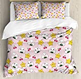 Kids King Size Duvet Cover Set by Ambesonne, Cute Japanese Food Icons Rice Ball Cherries Asian Kawaii Anime Pattern Design, Decorative 3 Piece Bedding Set with 2 Pillow Shams, Pink Multicolor
