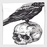 Vipsung Microfiber Ultra Soft Hand Towel-Scary Decor Scary Movies Theme Crow Bird Sitting On A Human Old Skull Sketchy Image Black And White For Hotel Spa Beach Pool Bath