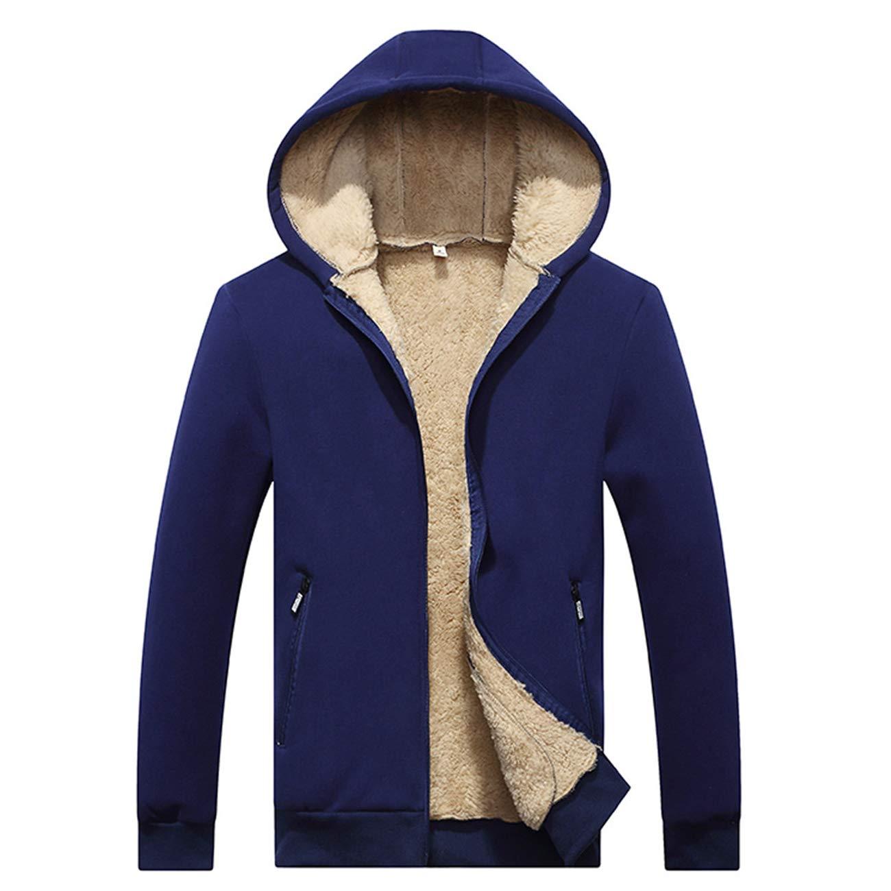 Rosennie Fashion Mens Coat,Men Autumn Winter Casual Hooded Warm Tops Long Sleeve Outwear Set Sport Gyms Loose Jacket Pocket Slim Hoodie Velvet Zipper Thickened Baseball Fleece Coat