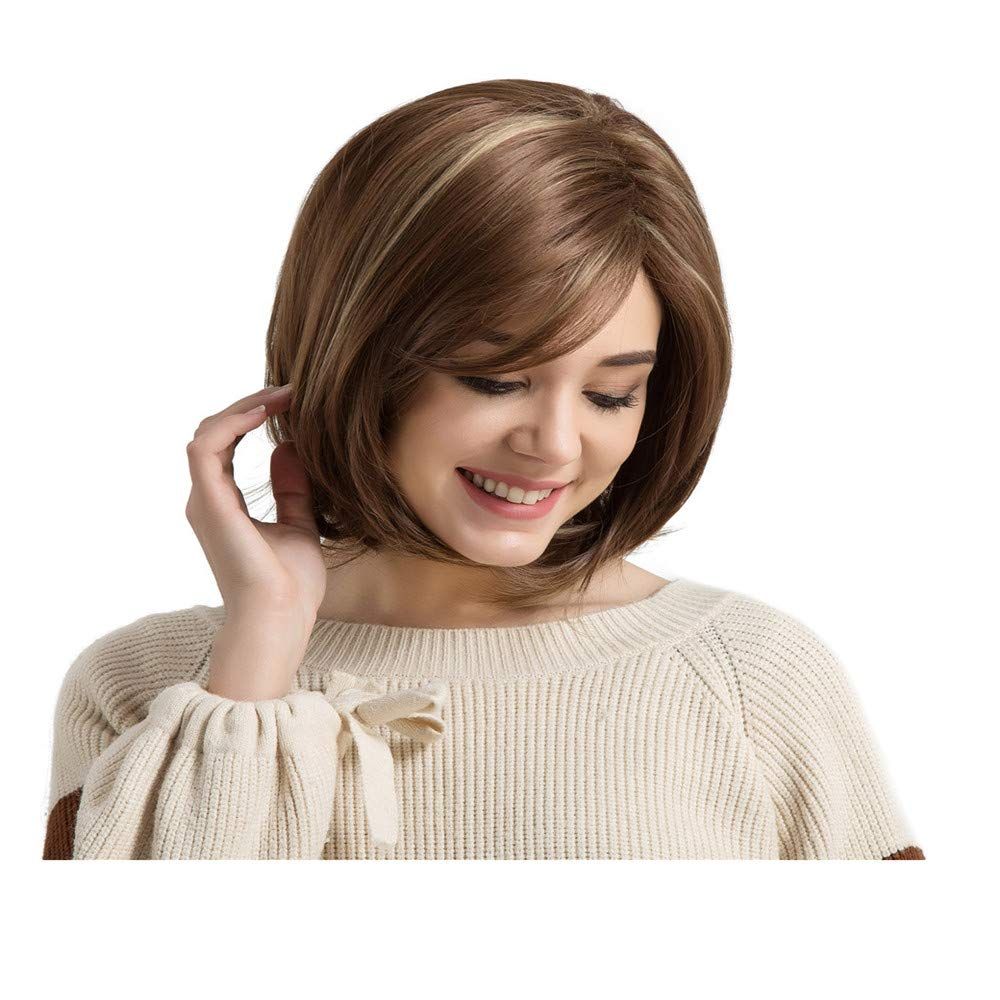 F Yiwanjia New Fashion multiple styles Wig Short Haircut Wigs Short Silky Synthetic hair Heat Resistant Wig with free Wig Cap