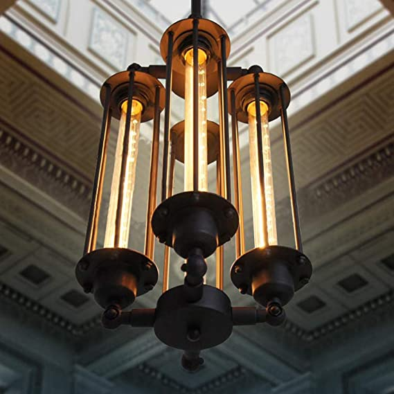 Steampunk Pendant Light 10x Atomic Pipes Ceiling Bar Loft Cafe Chandelier Black