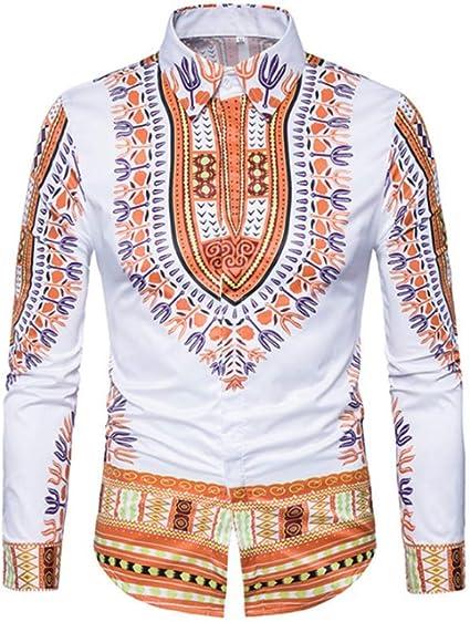 Camisa de Solapa de Manga Larga con Estampado étnico 3D para Hombre, Amarillo XL: Amazon.es: Ropa y accesorios