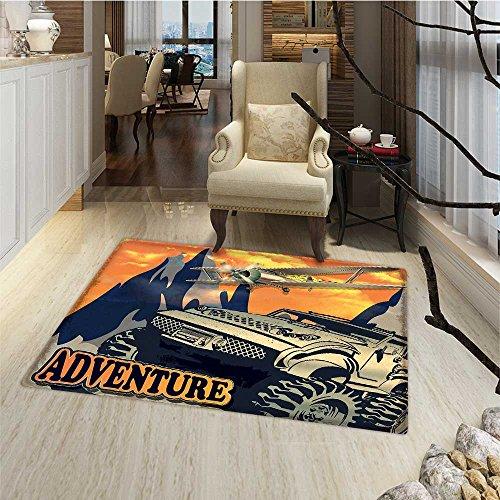 Adventure Door Mats AreaRug Grunge Retro Poster of a Big C