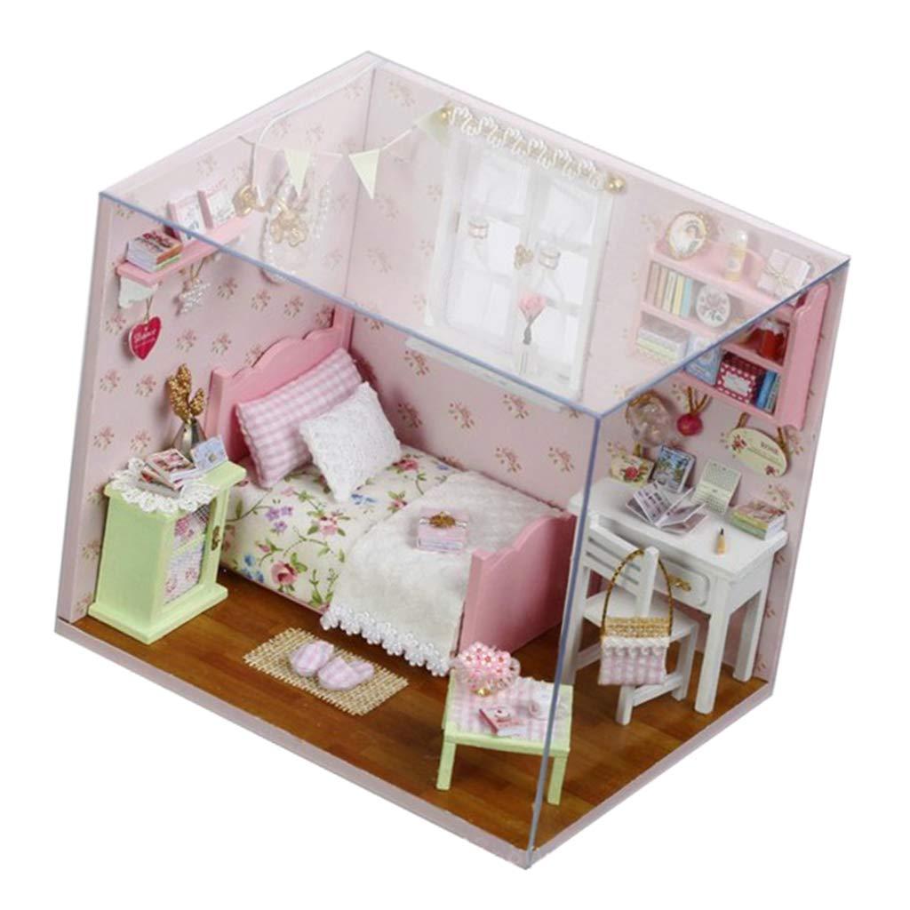 B Blesiya DIY Dollhouse Miniature Room Set Wooden Furniture Kit Mini Home Craft Construction Kit Model Building Toys Children Birthday Gift