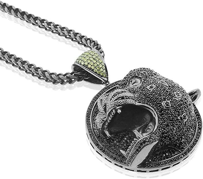 Premium Bling 925 Sterling Silver Africa Panther Pendant