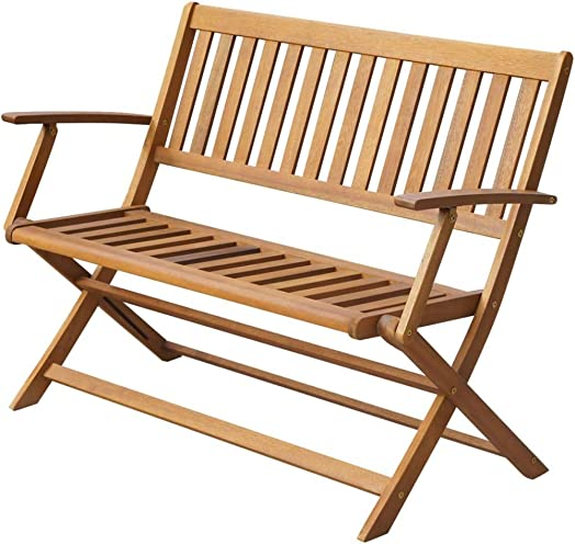 vidaXL Solid Acacia Wood Garden Bench Outdoor Folding Bench Yard Home Park Backyard Foldable Long Chair Couch Seating Furniture 47.2″