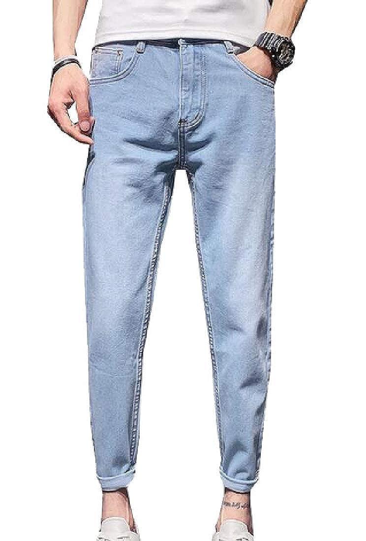 CBTLVSN Men Slim Fit Skinny Jeans Washed Harem Denim Pants