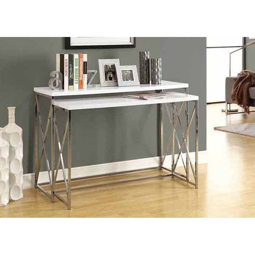amazoncom monarch specialties 2piece metal console table set 46inch glossy whitechrome kitchen u0026 dining - Metal Console Table