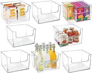 "mDesign Plastic Open Front Food Storage Bin for Kitchen Cabinet, Pantry, Shelf, Fridge/Freezer - Organizer for Fruit, Potatoes, Onions, Drinks, Snacks, Pasta - 12"" Wide, 8 Pack - Clear"