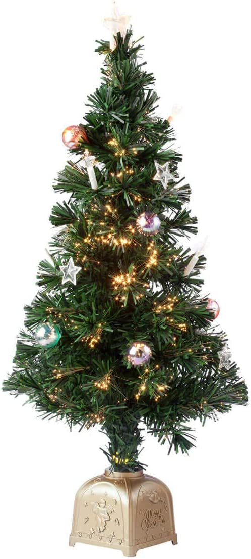 HOLIDAY PEAK 3' Musical Spinning Fiber Optic Christmas Tree, Pre-Lit and Fully Decorated Revolving Tree