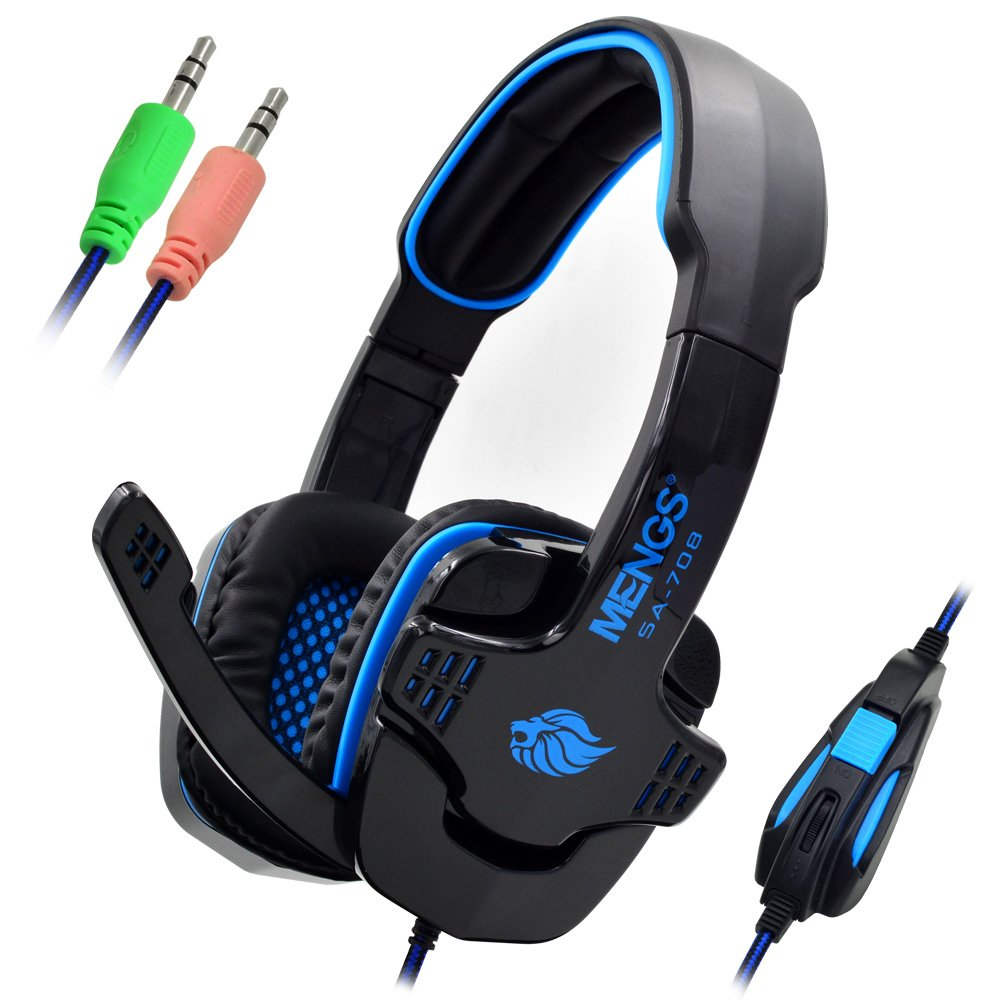 MENGS® SA-708 Gaming Headset con jack da 3,5 mm stereo e microfono cablato - blu