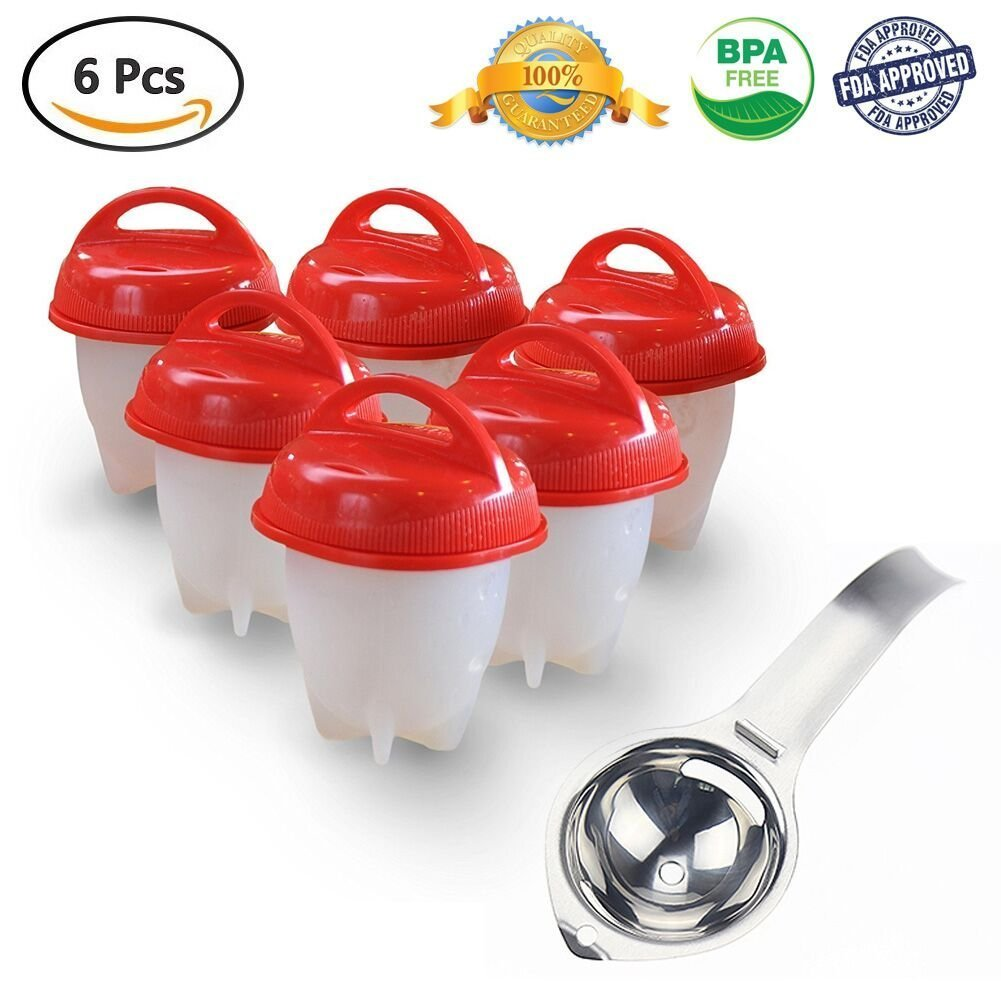 As Seen On TV:Egg Cooker Hard & Soft Maker,BPA Free, Non Stick Silicone, No Shell,Silicone Eggs Maker without the Shell (6 Pack) radarfn