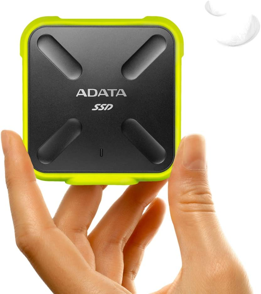 Military-Grade Shockproof ASD700-256GU3-CYL IP68 Dustproof Waterproof ADATA SD700 256GB Durable External 3D NAND Solid State Drive Yellow Up to 440MB//s Read and Write