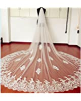 EllieHouse Women's Custom Made Long Lace Wedding Bridal Veil With Free Comb E69
