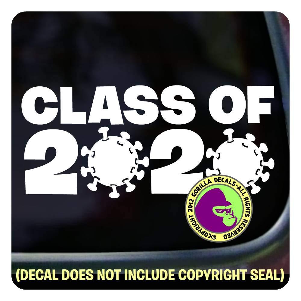 STUDENT GIFT - CLASS OF COVID 19 - VIRUS GERM - Graduation 2020 Coronavirus - Vinyl Decal Sticker A