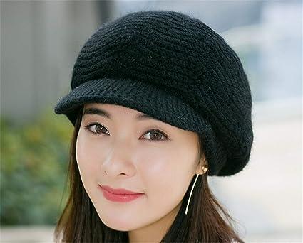Ladies Womens Rabbit Fur Knitted Knit Pattern Beret Soft Newsboy Baker Boy Hat