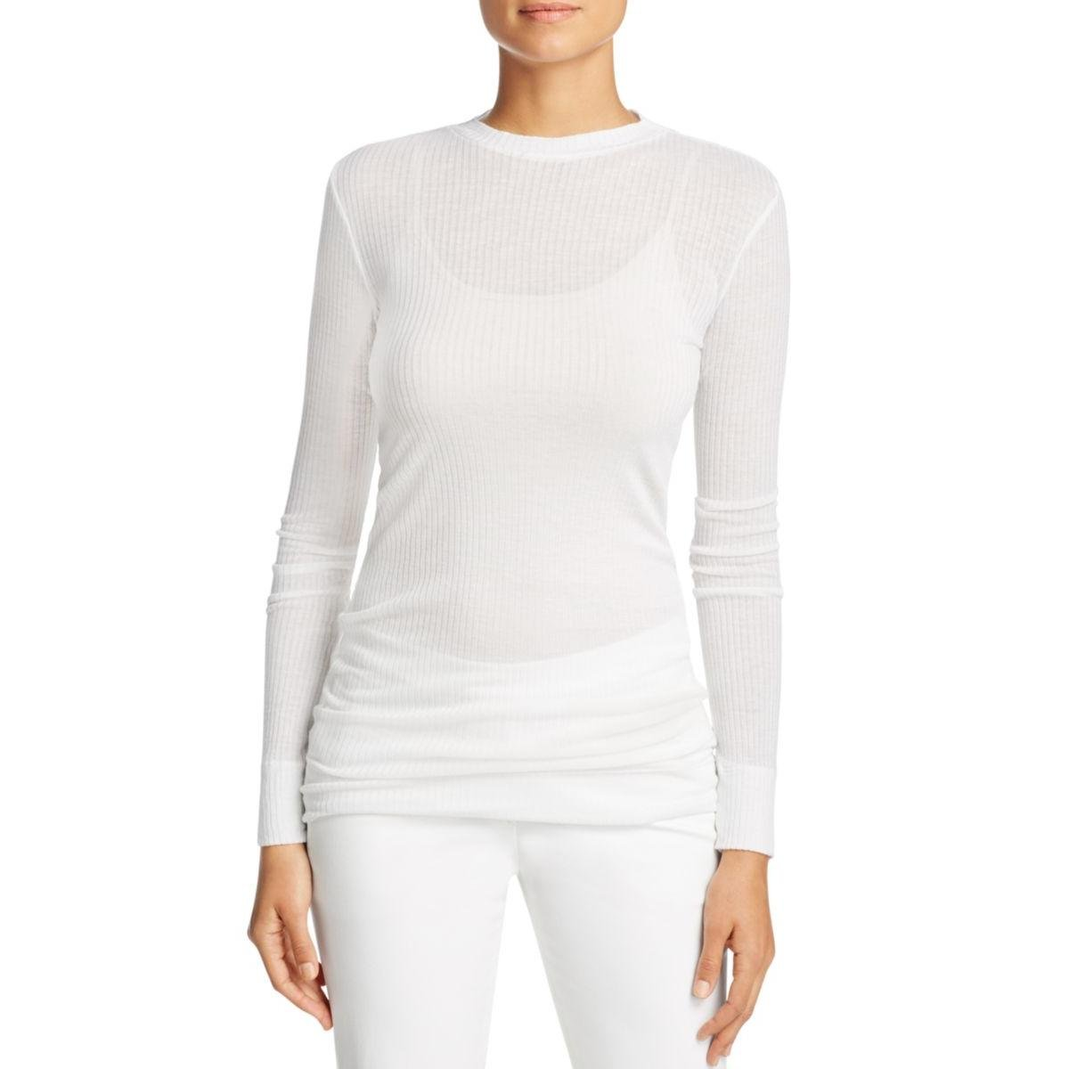 DKNY Womens Petites Ribbed Long Sleeves Pullover Top White S