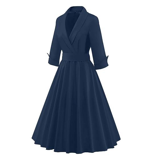 LUOUSE Mujer Vestidos de otoño abrigo sencillo clásico tipo, blue oscuro, m: Amazon.es: Ropa y accesorios