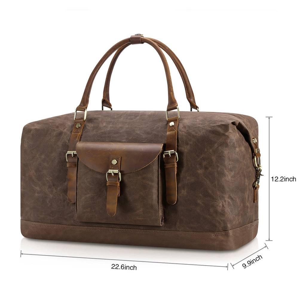 Plambag Oversized Duffel Bag, Waterproof Canvas Leather Trim Overnight Luggage Bag(Coffee) by Plambag (Image #3)