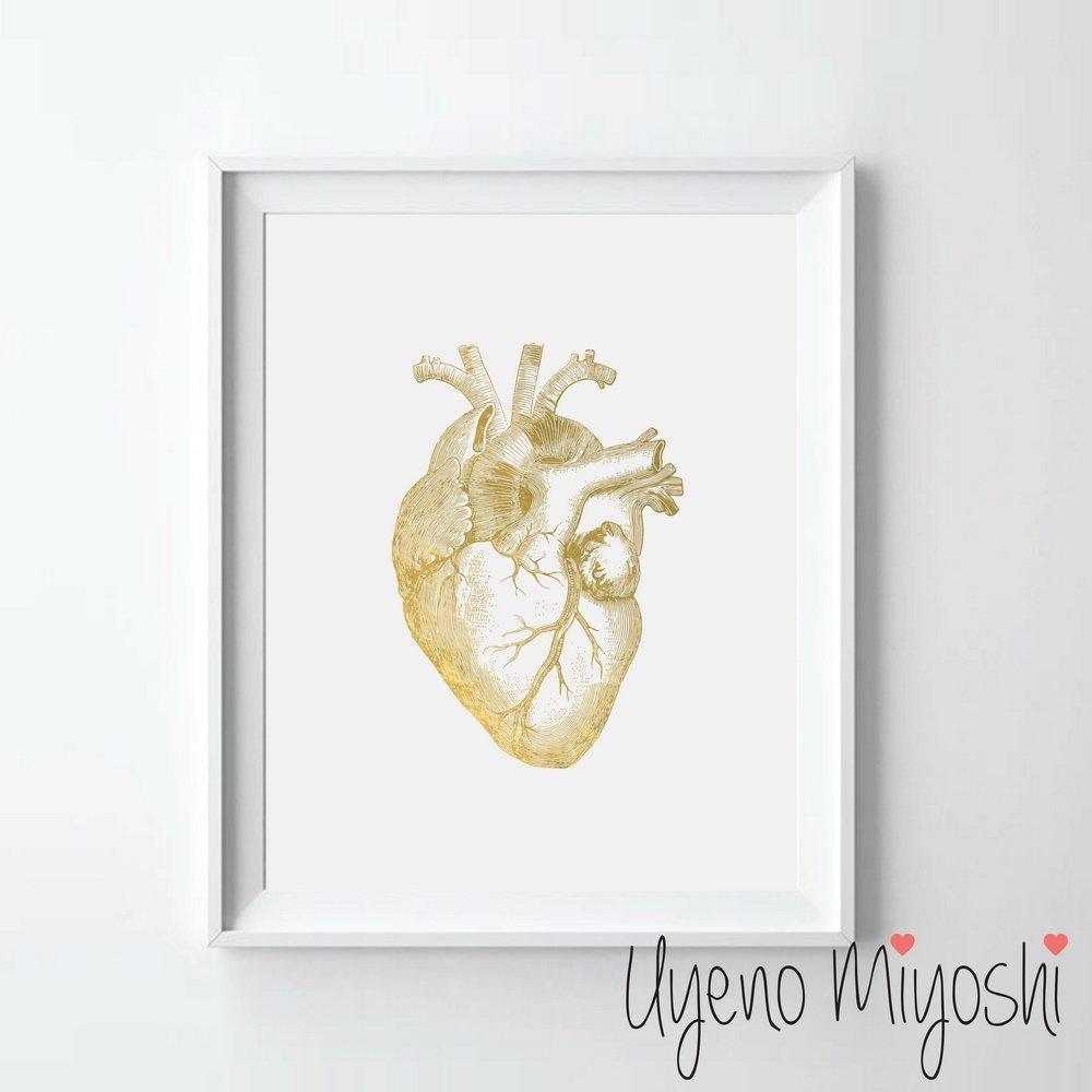 Cuadro Uyeno Miyohsi de corazon dorado 20cm x 25cm