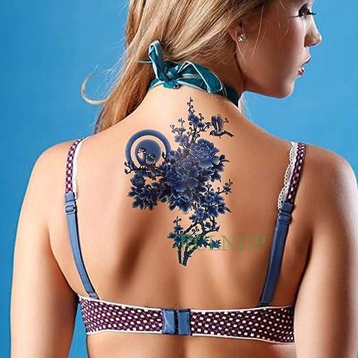 tzxdbh Etiqueta engomada del Tatuaje a Prueba de Agua Flores ...