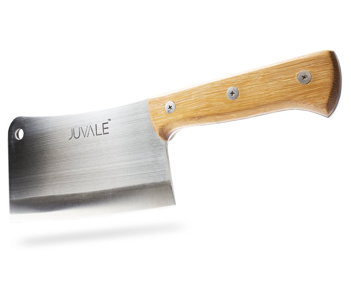 Juvale Stainless Steel Heavy Duty Meat Cleaver/Chopper/Butcher Knife - Solid Wood Handle - Professional Quality - for Home & Restaurant Use - 8 Inches