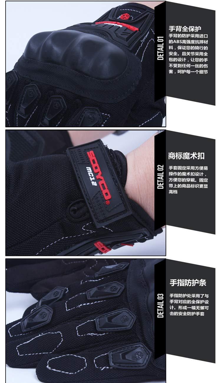 noir, XL BaronHong Knuckle Gants sans doigts pour motos Sports de course de sports extr/êmes