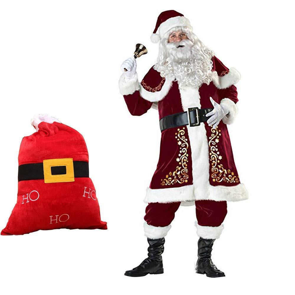 barato y de alta calidad Adultos Santa Claus Costume Father Christmas Xmas Full Costume Costume Costume Complete Outfit Sombrero Barba Guante Campana, Arriba El Cinturón Los Pantalones Las botas, Velour Bolsa, 10 Piezas (M-XXXL) Rojo,XL  encuentra tu favorito aquí